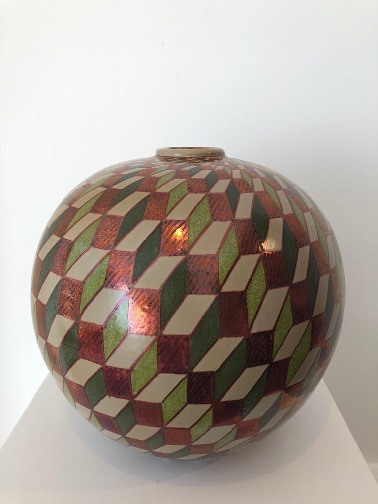 Ceramic vase by Bottega Vignoli Hand Painted Glazed Earthenware Italian  For Sale 2