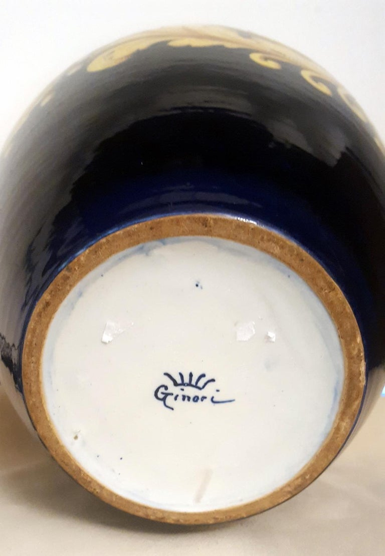 Ceramic Vase by Ginori in Blue with Golden Yellow Decoration, Italy, 1970s In Good Condition For Sale In Milano, IT