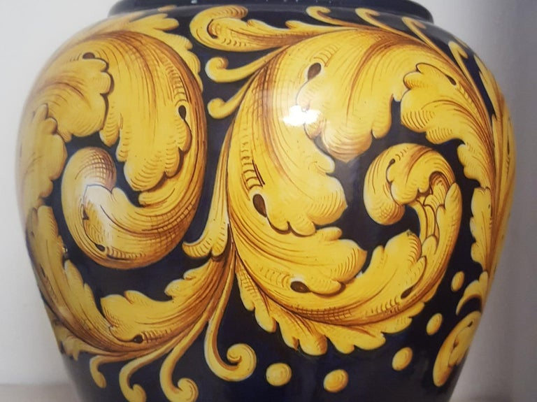 Late 20th Century Ceramic Vase by Ginori in Blue with Golden Yellow Decoration, Italy, 1970s For Sale