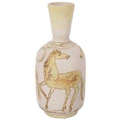 Ceramic Vase by Guido Gambone, Italy, circa 1950, Yellow & Cream Color