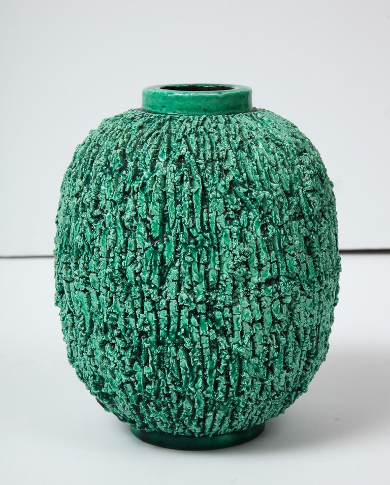 Decorative ceramic vase by Gunnar Nylund, Gustavsberg, Sweden, circa 1950. This is the large size of three sizes of a group called