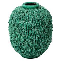 "Ceramic Vase by Gunnar Nylund, Sweden, circa 1950, Green, ""Charmotte"""