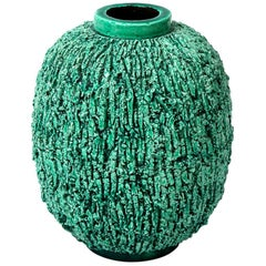 "Ceramic Vase by Gunnar Nylund, Scandinavian, circa 1950, Green, ""Charmotte"""