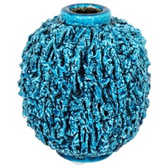 "Ceramic Vase by Gunnar Nylund, Scandinavian, circa 1950, Turquoise, ""Charmotte"""
