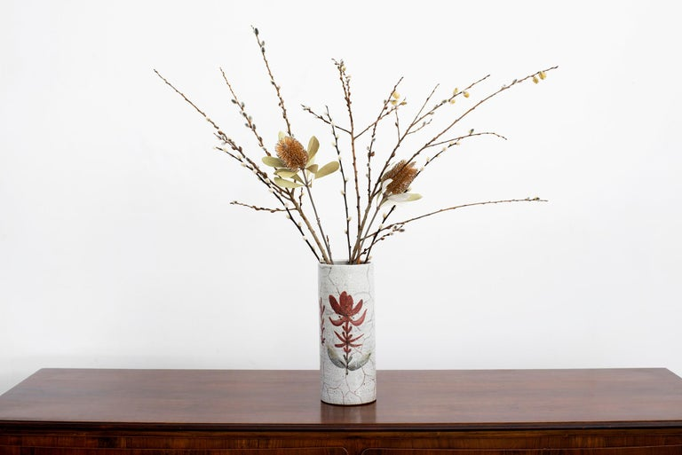 Gorgeous ceramic vase by Gustave Reynaud - Cylindrical earthenware ceramic with flower hand painted.  Large in scale and beautiful craftsmanship!