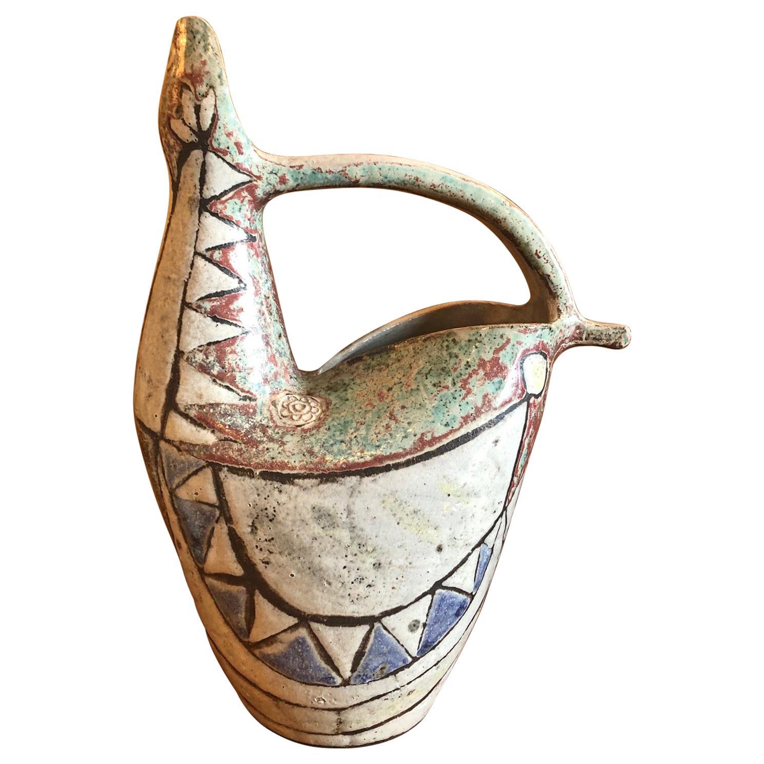 Ceramic Vase by Jean Derval / Vallauris, France, 1960s