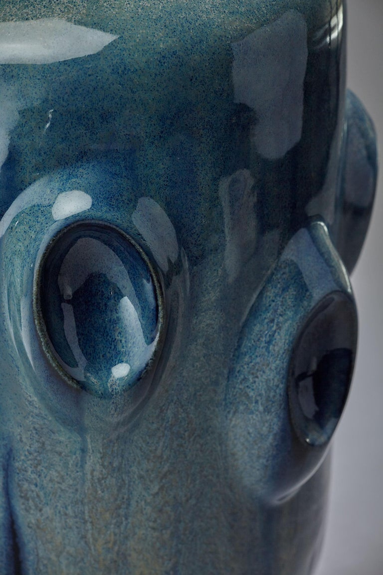 Variegated blue verdigris cylindrical vase with obloid shapes handmade unique piece, 2017, glazed stoneware, measures: approximate 18cm width x 36 cm height  Violante Lodolo D'Oria (Genoa, Italy, 1971) is a London based Italian artist. She studied
