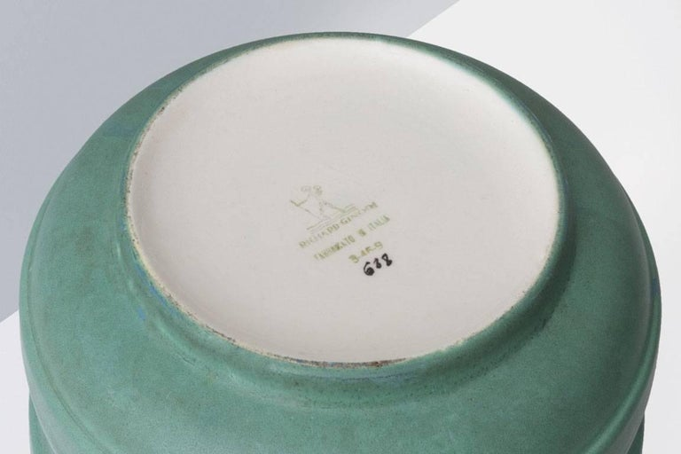Gio Ponti (1891-1979).  Ceramic vase Manufactured by Richard Ginori  Italy, 1931. Modelled ceramic and enameled in opaque green.  Measurements: 23 ø cm x 15 H cm. 7,87 ø inches x 5,12 H inches.  Literature Richard-Ginori, Ceramiche