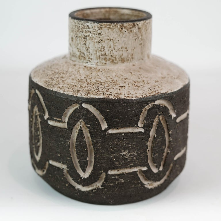 Ceramic vase in dark nuances by Loevemose Ceramics from the 1960s. The vase is in great vintage condition.