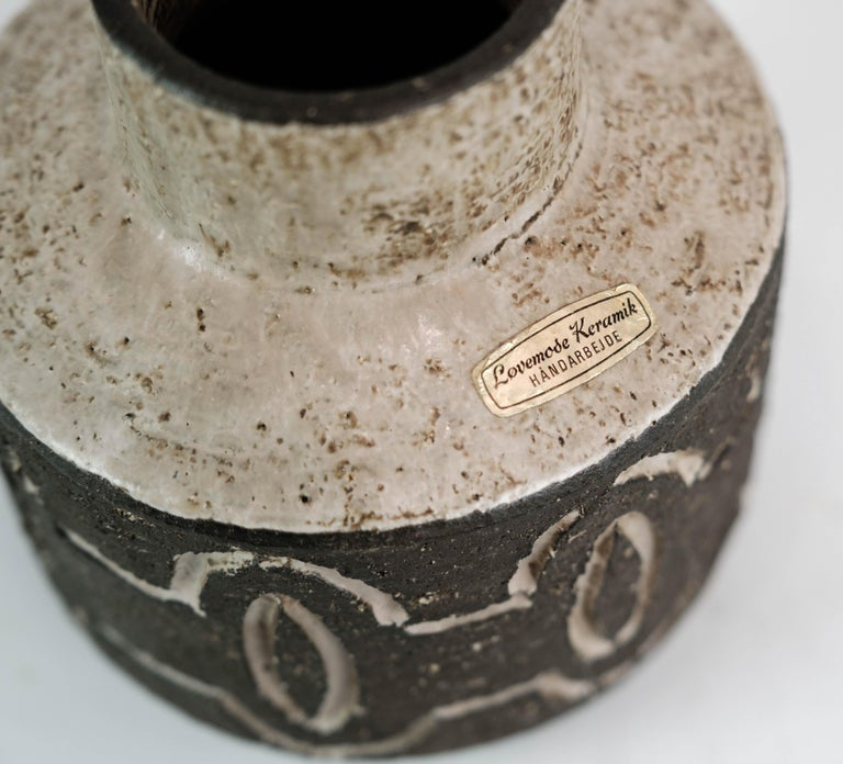 Ceramic Vase in Dark Nuances by Loevemose Ceramics from the 1960s In Good Condition For Sale In Lejre, DK