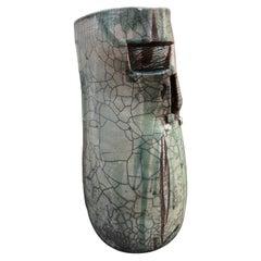 Ceramic Vase in the Spirit of Pouchain Ceramic Cracked Vintage 1950