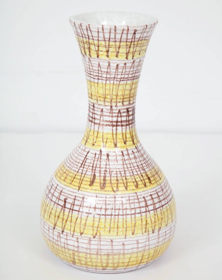 Mid-Century Modern Ceramic Vase, Midcentury Italian, Yellow, Brown and White, circa 1950 For Sale