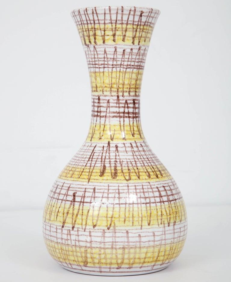Mid-20th Century Ceramic Vase, Midcentury Italian, Yellow, Brown and White, circa 1950 For Sale
