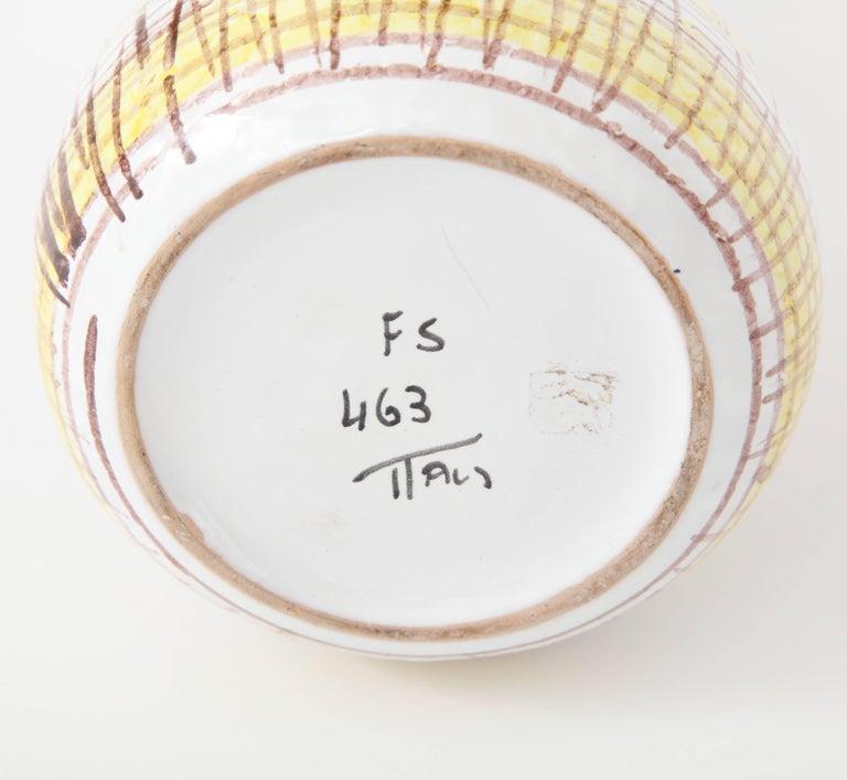 Ceramic Vase, Midcentury Italian, Yellow, Brown and White, circa 1950 For Sale 2