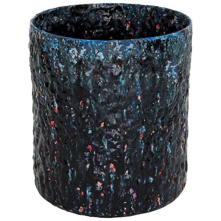 "Stoneware Ceramic Vase Model ""#1855"" by Morten Løbner Espersen Dark Blue Light Blue Red  For Sale"