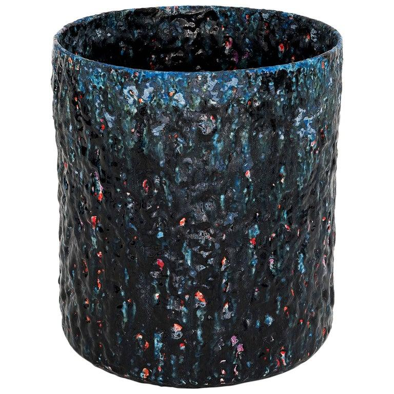 """Ceramic Vase Model """"#1855"""" by Morten Løbner Espersen Dark Blue Light Blue Red  In Excellent Condition For Sale In Barcelona, ES"""