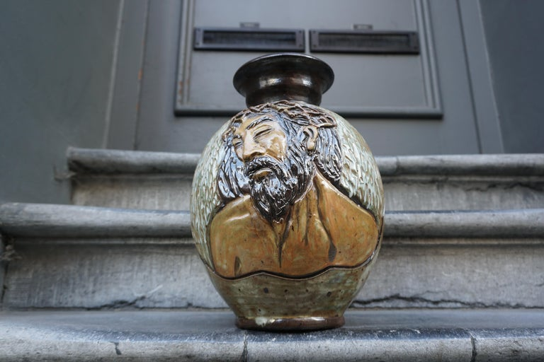 Ceramic Vase of a Suffering Christ by Losson Belgium For Sale 5
