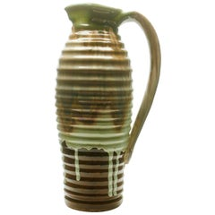 Ceramic Vase or Pitcher Beautiful Glaze in Nuances of Brown & Green, circa 1930