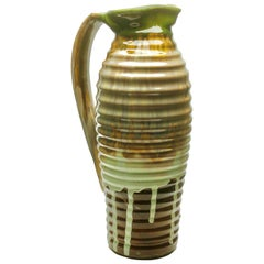 Ceramic Vase or Pitcher Beautiful Glaze in Shades of Brown and Green, circa 1930