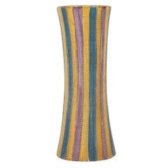 Ceramic Vase Pastel Pottery Stripes Gold Signed, Italy, 1960s