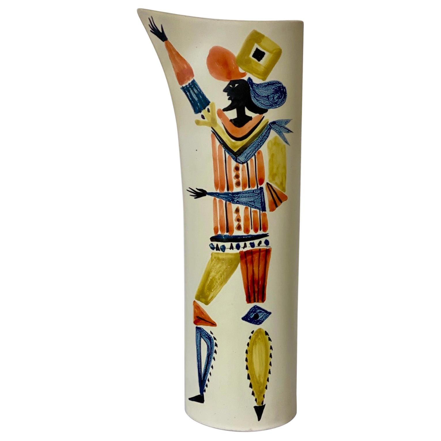 Ceramic Vase Pitcher with Character Signed by Roger Capron, Vallauris, 1950s