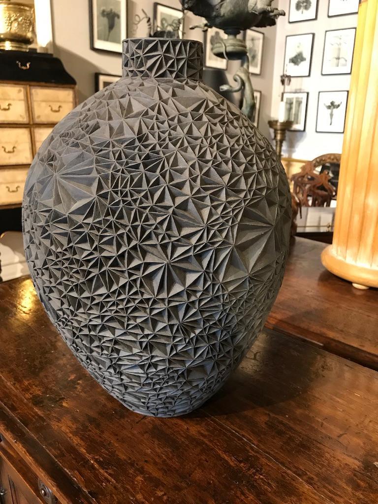 Carved Ceramic Vase 'Primavera' by Leah Jensen For Sale