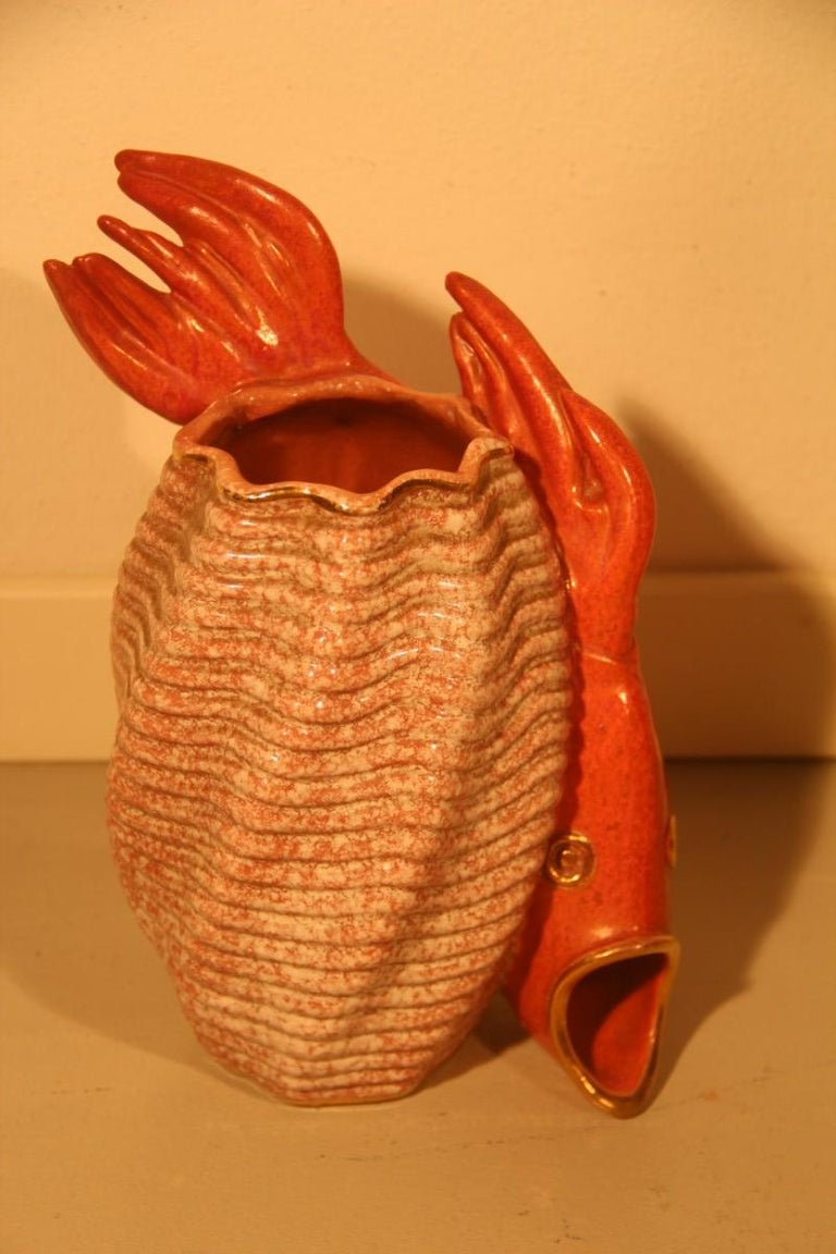 Mid-20th Century Ceramic Vase Red Fish Mid-Century Modern Italian Design 1950s Gold Parts For Sale