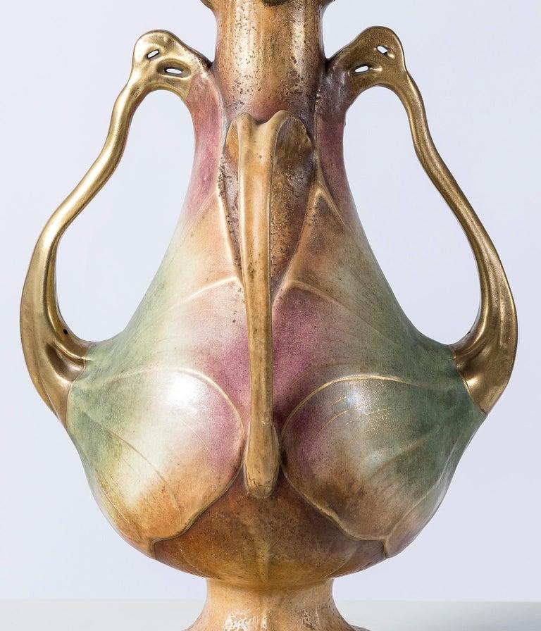 Austrian Ceramic Vase Signed Amphora, Austria, Turn-Teplitz 'Bohemia', Art Nouveau Period