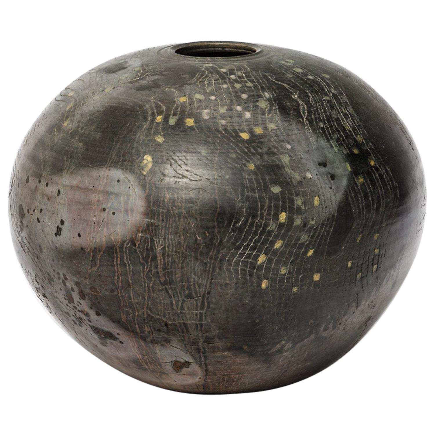 Ceramic Vase with Abstract Decoration, circa 1980-1990, by Loup Combres