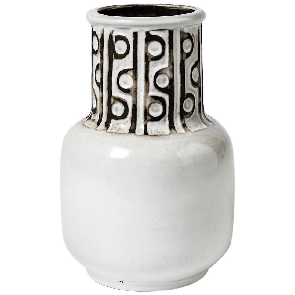 Ceramic Vase with Black and White Glazes Decoration, Signed Polaris, 1970