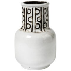 Ceramic Vase with Black and White Glazes Decoration, Signed Polaris, 1970