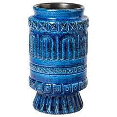 Ceramic Vase with Blue Glaze Decoration Signed Pol Chambost, circa 1960-1970