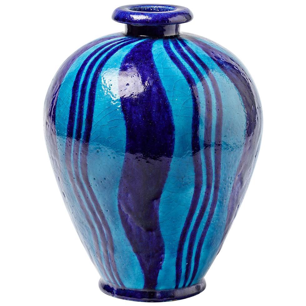 Ceramic Vase with Blue Glazes Decoration, circa 1920, No Signed