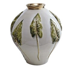 Ceramic Vase with Leaves in High Relief by Ceccarelli