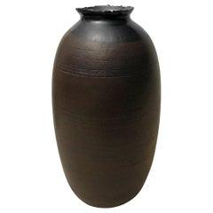 Ceramic Vase with Rust Glaze and Jagged Black Lustre Lip by Sandi Fellman