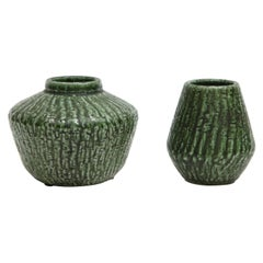 Ceramic Vases by Nymolle, Denmark, circa 1960, Green