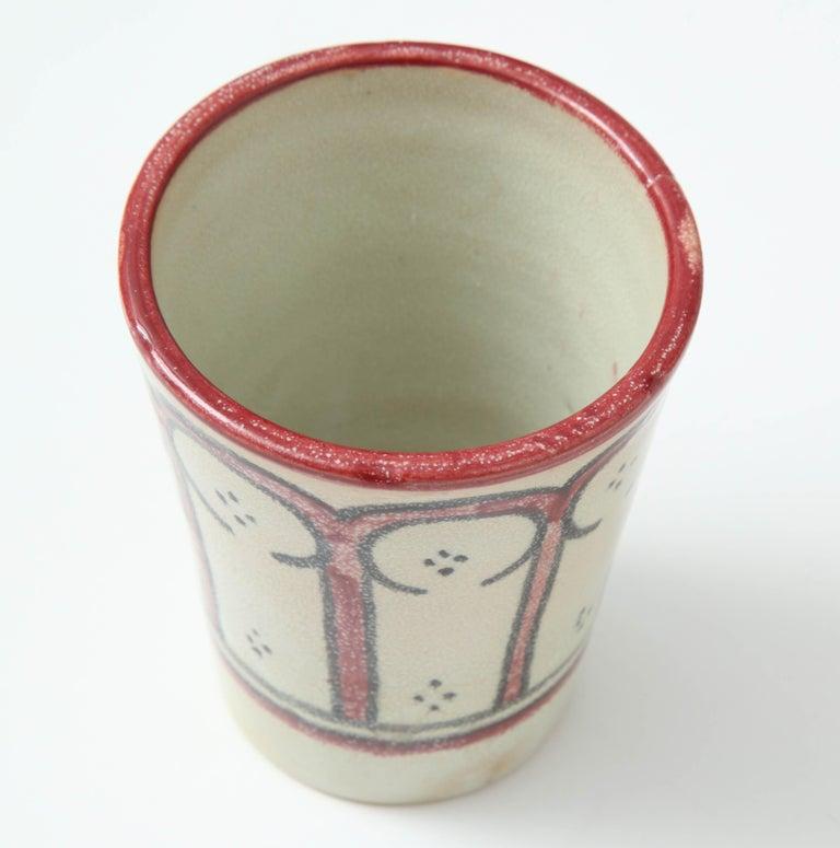 Moroccan Ceramic Vessel, Red, Black and Cream, Handcrafted, Morocco, Contemporary For Sale