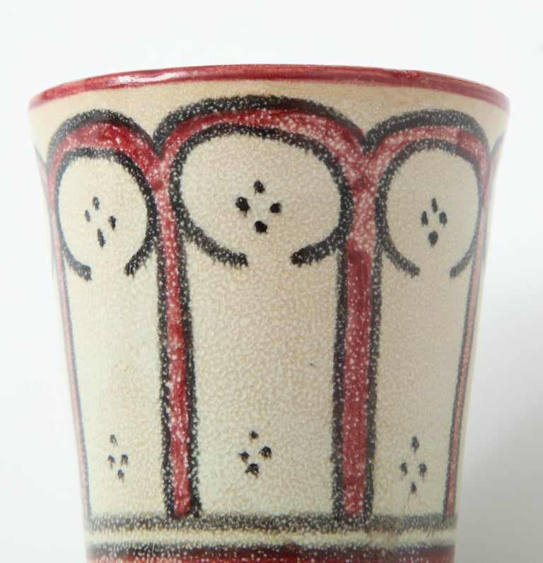 Hand-Crafted Ceramic Vessel, Red, Black and Cream, Handcrafted, Morocco, Contemporary For Sale