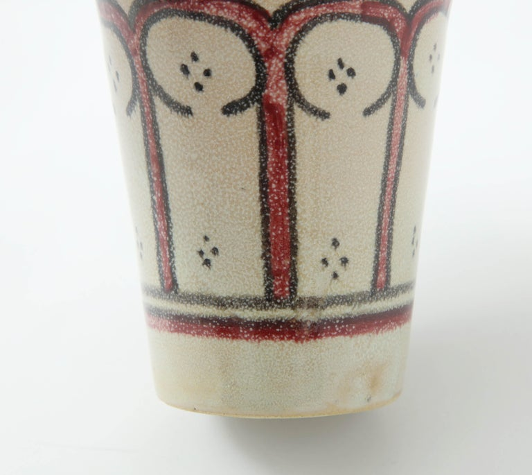 Ceramic Vessel, Red, Black and Cream, Handcrafted, Morocco, Contemporary In New Condition For Sale In New York, NY