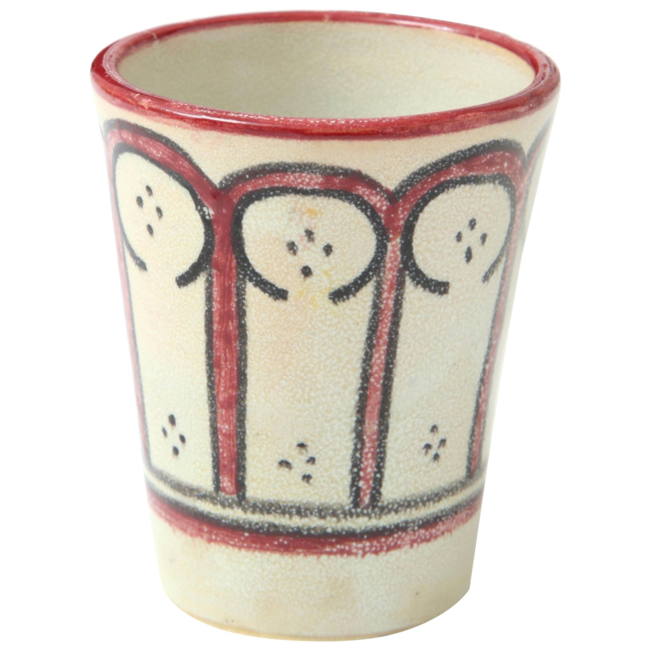 Ceramic Vessel, Red, Black and Cream, Handcrafted, Morocco, Contemporary