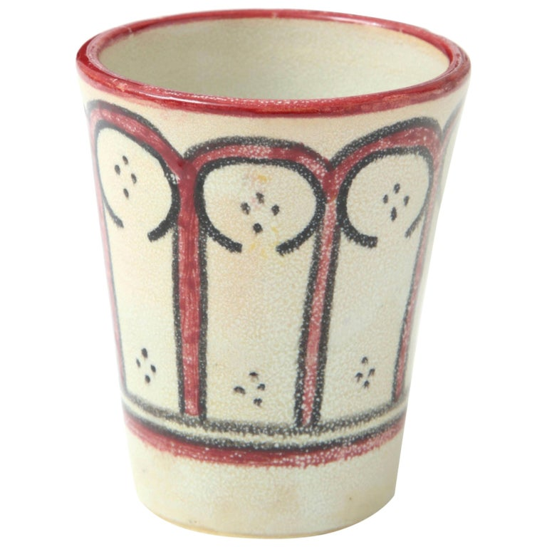 Ceramic Vessel, Red, Black and Cream, Handcrafted, Morocco, Contemporary For Sale