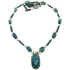 Ceramic Vintage Egyptian Scarab Necklace 1970s