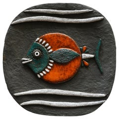 Ceramic Wall Art Sculpture with Stylized Fish Decor by Bataille, Belgium, 1960s