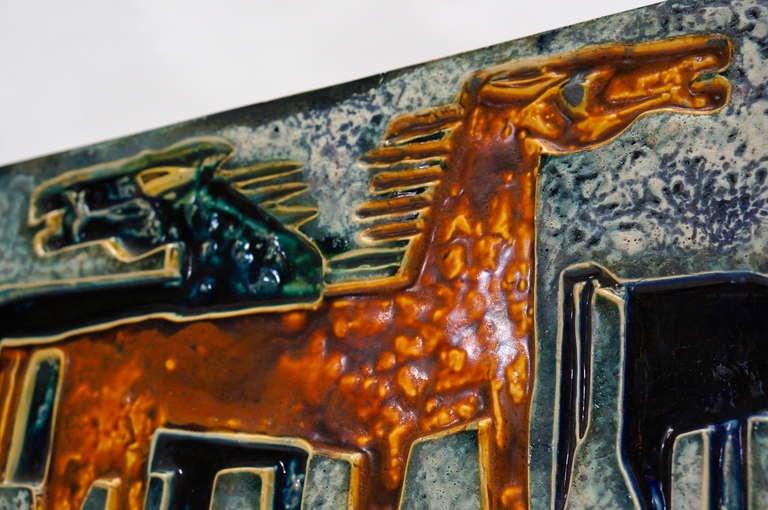 German Ceramic Wall Art with Horses