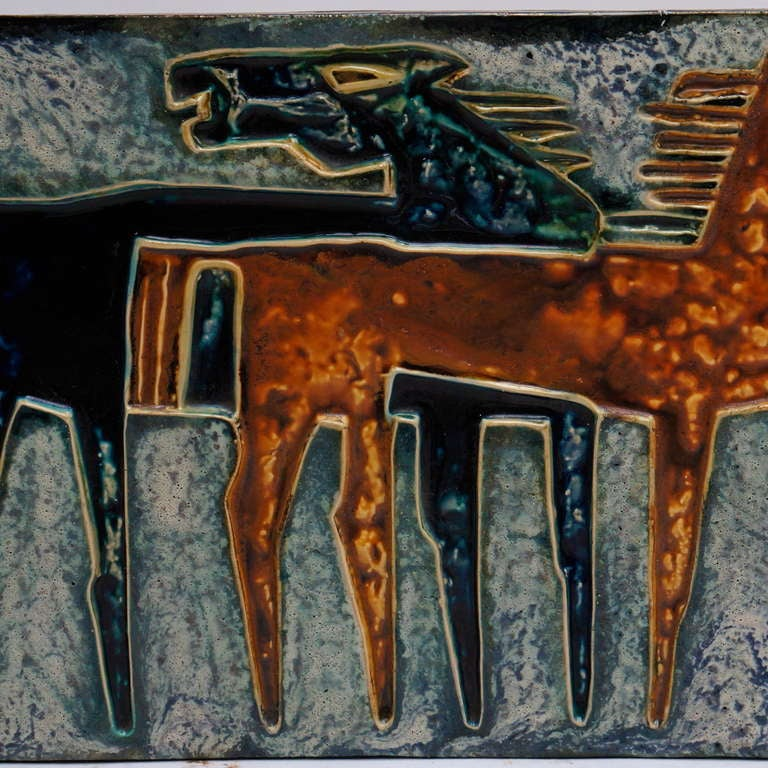 Mid-20th Century Ceramic Wall Art with Horses