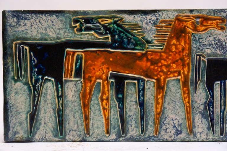 Ceramic Wall Art with Horses 1