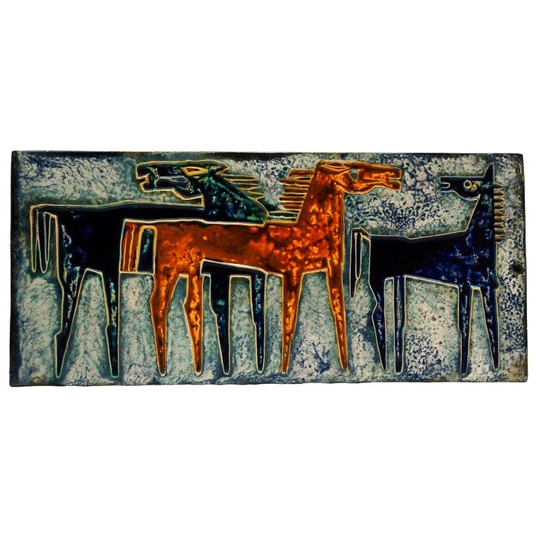Ceramic Wall Art with Horses