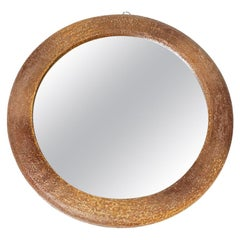 Ceramic Wall Mirror Brown Pottery Glaze Color by Vallauris, 1950