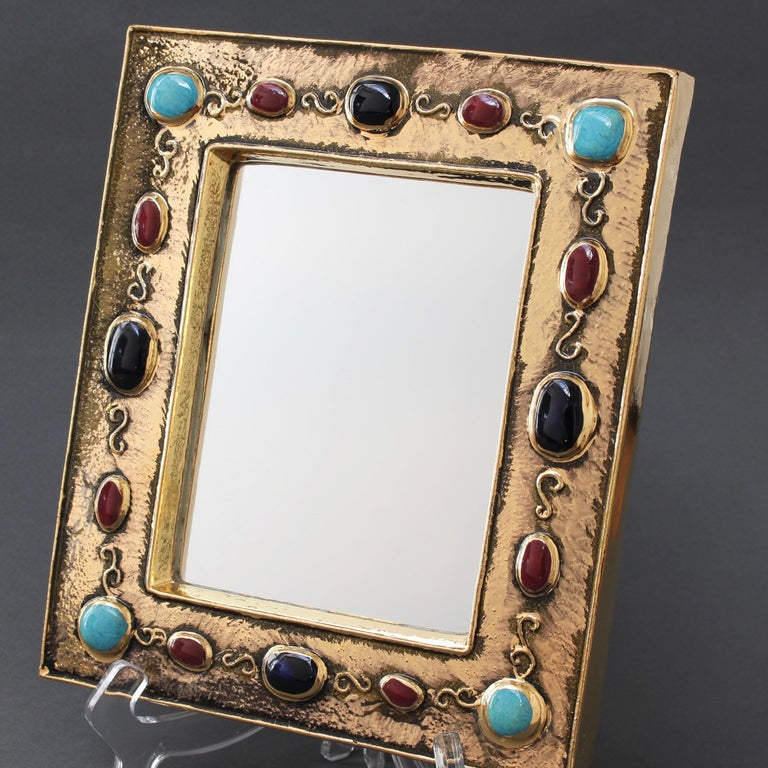 Ceramic Wall Mirror by François Lembo, circa 1960s-1970s For Sale 5
