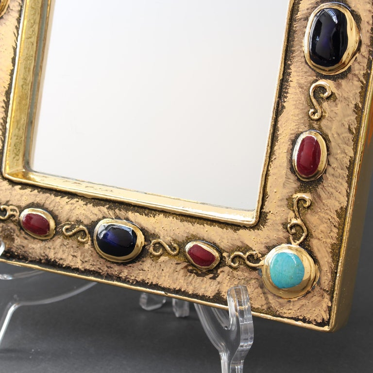 Ceramic Wall Mirror by François Lembo, circa 1960s-1970s For Sale 6